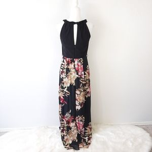 SLNY Dresses - SLNY Black Floral Print Sleeveless Maxi Dress 6